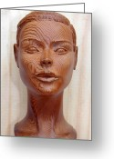 Wood Sculpture Sculpture Greeting Cards - Female Head Bust - Front View Greeting Card by Carlos Baez Barrueto