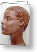 Artists Sculpture Greeting Cards - Female Head Bust - Side View Greeting Card by Carlos Baez Barrueto