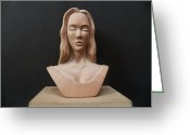 Artists Sculpture Greeting Cards - Female Head Bust Greeting Card by Carlos Baez Barrueto