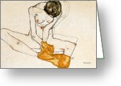 Watercolor On Paper Greeting Cards - Female Nude Greeting Card by Egon Schiele