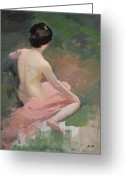 Initials Greeting Cards - Female Nude Greeting Card by Jules Ernest Renoux