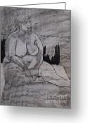 Nudes Drawings Greeting Cards - Female nude seated Greeting Card by Joanne Claxton