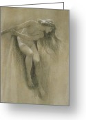 Hair Drawing Greeting Cards - Female Nude Study  Greeting Card by John Robert Dicksee