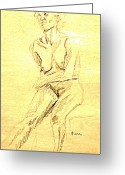 Cheek Drawings Greeting Cards - Female Nude with Arm Across Greeting Card by Sheri Parris