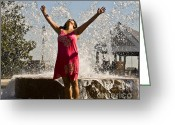 Joyful Greeting Cards - Femme Fountain Greeting Card by Al Powell Photography USA
