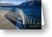 Banister Greeting Cards - Fence with shadow Greeting Card by Mats Silvan