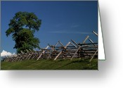Split-rail Fence Greeting Cards - Fenceline at Bloody Lane Greeting Card by Judi Quelland