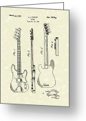 Patent Artwork Greeting Cards - Fender Bass Guitar 1953 Patent Art  Greeting Card by Prior Art Design