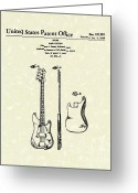 Rock And Roll Greeting Cards - Fender Bass Guitar 1960 Patent Art Greeting Card by Prior Art Design