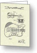 Patent Artwork Greeting Cards - Fender Guitar 1966 Patent Art Greeting Card by Prior Art Design