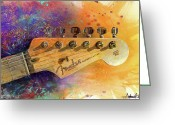 Watercolor Painting Greeting Cards - Fender Head Greeting Card by Andrew King