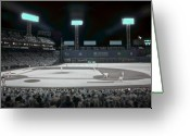Red Sox Baseball Greeting Cards - Fenway Infrared Greeting Card by James Walsh