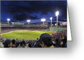 Red Sox Baseball Greeting Cards - Fenway Night Greeting Card by Rick Berk