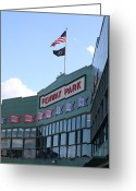 Green Monster Greeting Cards - Fenway Park Centennial Greeting Card by Loud Waterfall Photography Chelsea Sullens