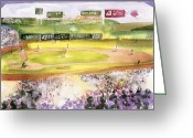 New York Baseball Parks Greeting Cards - Fenway Park Greeting Card by Joseph Gallant