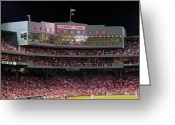 Night At The Ballpark Greeting Cards - Fenway Park Greeting Card by Juergen Roth