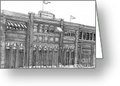  Parks Drawings Greeting Cards - Fenway Park Greeting Card by Juliana Dube