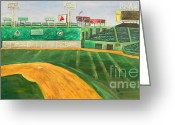 Green Monster Greeting Cards - Fenway Park Greeting Card by Kristin St Hilaire