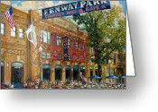 Red Sign Greeting Cards - Fenway Summer Greeting Card by Gregg Hinlicky
