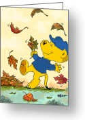 March Drawings Greeting Cards - Ferald Dancing Amongst The Autumn Leaves Greeting Card by Keith Williams