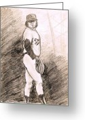 Baseball Drawings Greeting Cards - Fernando Valenzuela Greeting Card by Mel Thompson