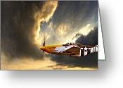 P-51 Mustang Greeting Cards - Ferocious Frankie Greeting Card by Meirion Matthias
