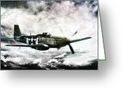 P-51 Mustang Greeting Cards - Ferocious Textured Greeting Card by Peter Chilelli