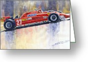 Red Ferrari Greeting Cards - Ferrari 126 CK Gilles Villeneueve Spanish GP 1981 Greeting Card by Yuriy  Shevchuk