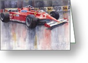 Sport Painting Greeting Cards - Ferrari 126C 1981 Monte Carlo GP Gilles Villeneuve Greeting Card by Yuriy  Shevchuk