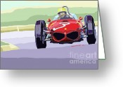 Motorsport Greeting Cards - Ferrari 156 Dino 1962 Dutch GP Greeting Card by Yuriy  Shevchuk