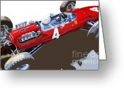 Sport Greeting Cards - Ferrari 158 F1 1965 Dutch GP Lorenzo Bondini Greeting Card by Yuriy  Shevchuk