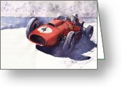 Sport Painting Greeting Cards - Ferrari 246 Mike Hawthorn Greeting Card by Yuriy  Shevchuk