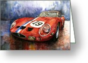 Red Ferrari Greeting Cards - Ferrari 250 GTO 1963 Greeting Card by Yuriy  Shevchuk