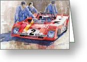 Hour Greeting Cards - Ferrari 312 PB 1972 Daytona 6-hour winning Greeting Card by Yuriy  Shevchuk