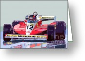 Red Ferrari Greeting Cards - Ferrari 312 T3 1978 canadian GP Greeting Card by Yuriy  Shevchuk