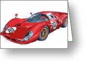 Ferrari Digital Art Greeting Cards - Ferrari 412P 330 P4 1967 Le Mans Greeting Card by Yuriy  Shevchuk