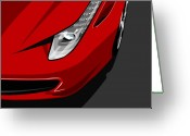 Ferrari Digital Art Greeting Cards - Ferrari 458 Italia Greeting Card by Michael Tompsett
