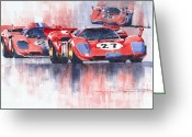 1970 Greeting Cards - Ferrari 512 S 1970 24 Hours of Daytona Greeting Card by Yuriy  Shevchuk