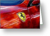 Sports Car Greeting Cards - Ferrari Badge Greeting Card by David Kyte