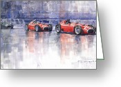 Sport Painting Greeting Cards - Ferrari D50 Monaco GP 1956 Greeting Card by Yuriy  Shevchuk
