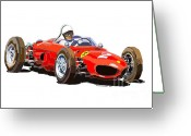 Motorsport Greeting Cards - Ferrari Dino 156 1962  Greeting Card by Yuriy  Shevchuk
