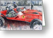 Sport Greeting Cards - Ferrari Dino 246 F1 1958 Mike Hawthorn French GP  Greeting Card by Yuriy  Shevchuk