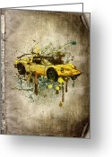 Pencil Drawing Greeting Cards - Ferrari Dino 246 GTS Greeting Card by Svetlana Sewell