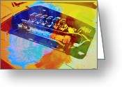 Ferrari Digital Art Greeting Cards - Ferrari Engine Watercolor Greeting Card by Irina  March