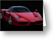 Red Sportscar Greeting Cards - Ferrari Enzo V12 Greeting Card by Peter Chilelli
