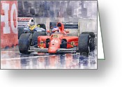 Motor Greeting Cards - Ferrari F1 Jean Alesi Phoenix US GP Arizona 1991 Greeting Card by Yuriy  Shevchuk