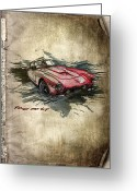 Transportation Mixed Media Greeting Cards - Ferrari Greeting Card by Svetlana Sewell