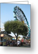 Amusement Ride Greeting Cards - Ferris Upside Down Greeting Card by Kelly Mezzapelle