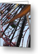 California Adventure Park Greeting Cards - Ferris Wheel - 5D17604 Greeting Card by Wingsdomain Art and Photography