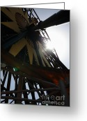 California Adventure Park Greeting Cards - Ferris Wheel - 5D17616 Greeting Card by Wingsdomain Art and Photography